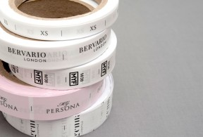 Textile labels on rolls